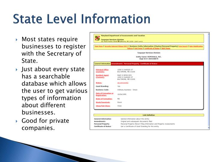 State level information