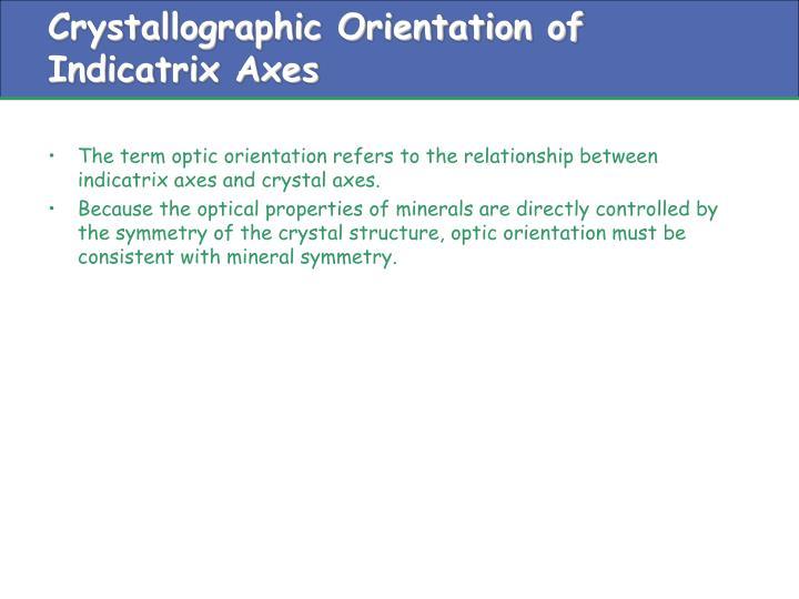 Crystallographic Orientation of Indicatrix Axes