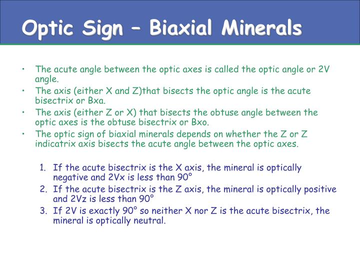 Optic Sign – Biaxial Minerals