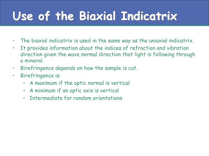 Use of the Biaxial Indicatrix
