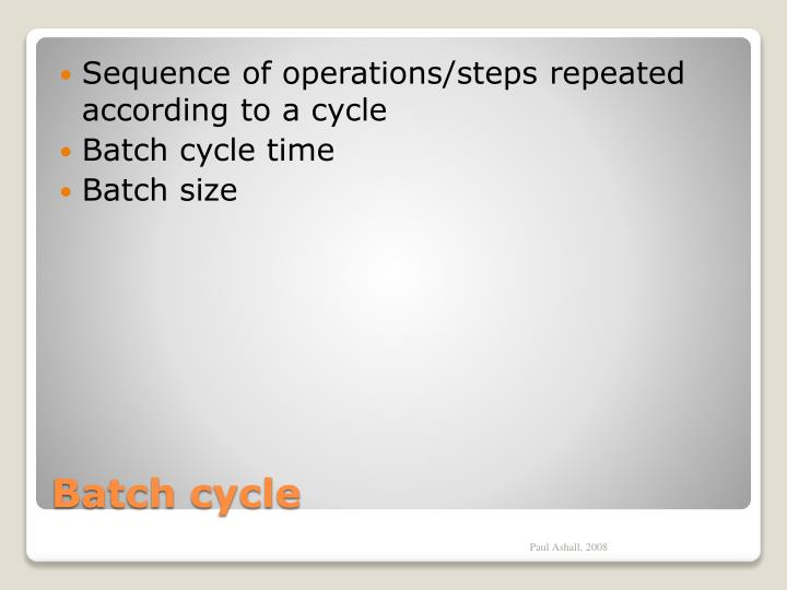 Sequence of operations/steps repeated according to a cycle