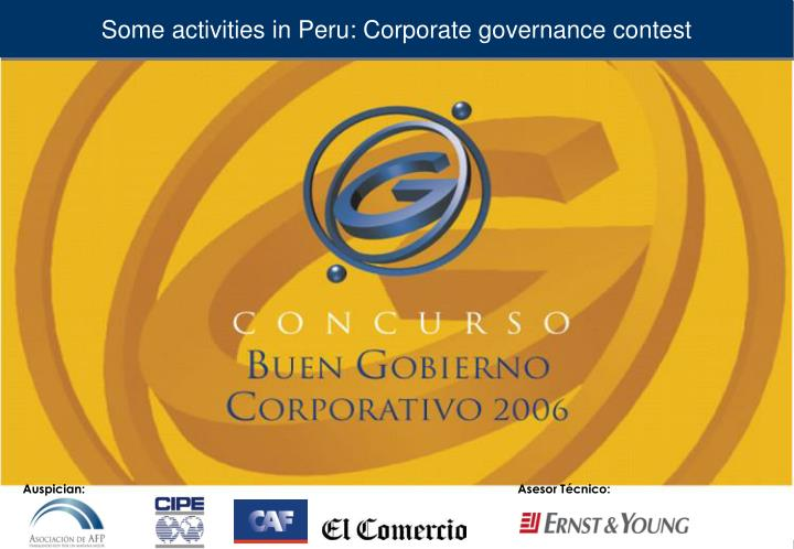 Some activities in Peru: Corporate governance contest