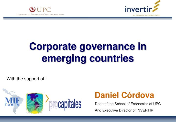 Corporate governance in emerging countries