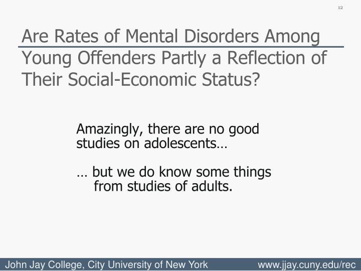 Are Rates of Mental Disorders Among Young Offenders Partly a Reflection of Their Social-Economic Status?