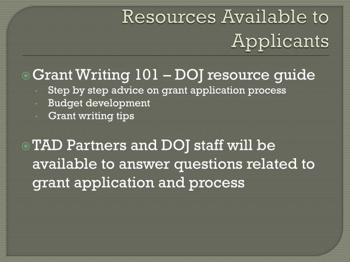 Resources Available to Applicants