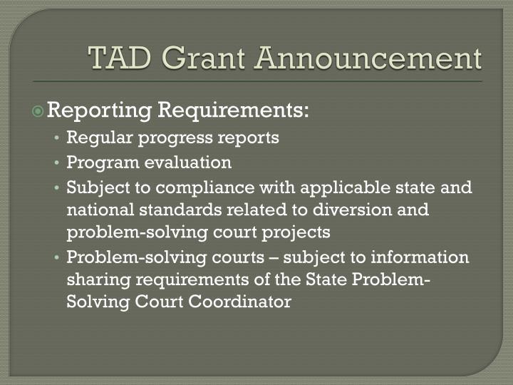 TAD Grant Announcement