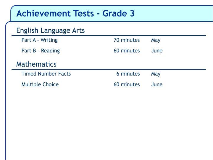 Achievement Tests - Grade 3