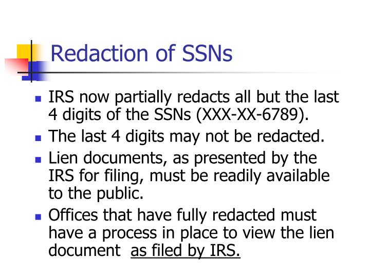 Redaction of SSNs