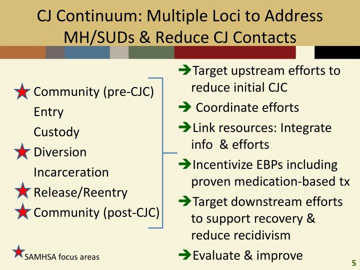 CJ Continuum: Multiple Loci to Address MH/SUDs & Reduce CJ Contacts