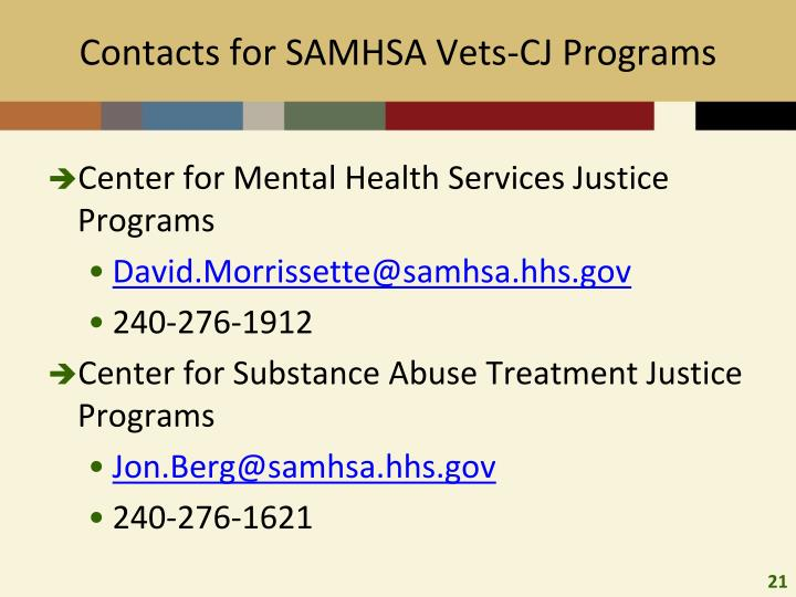 Contacts for SAMHSA Vets-CJ Programs