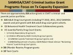 samhsa csat criminal justice grant programs focus on tx capacity expansion