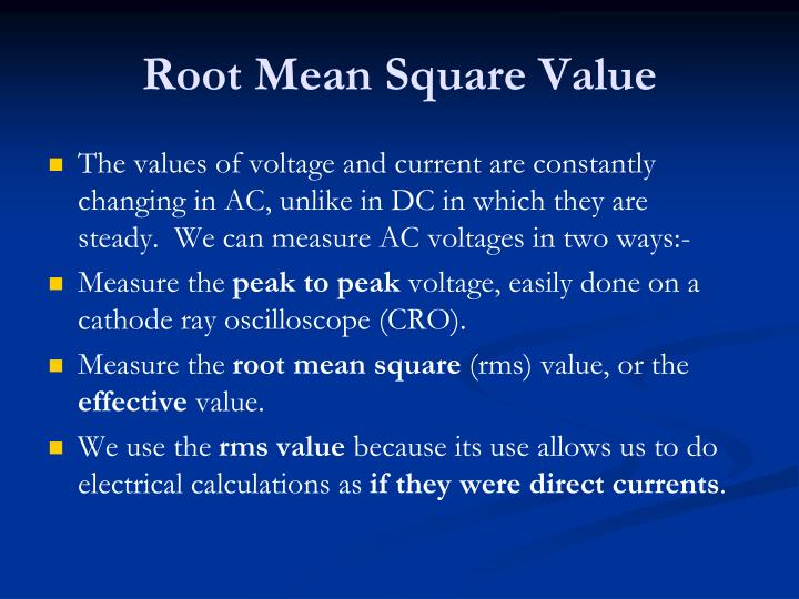 Root Mean Square Value