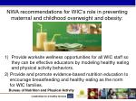 nwa recommendations for wic s role in preventing maternal and childhood overweight and obesity