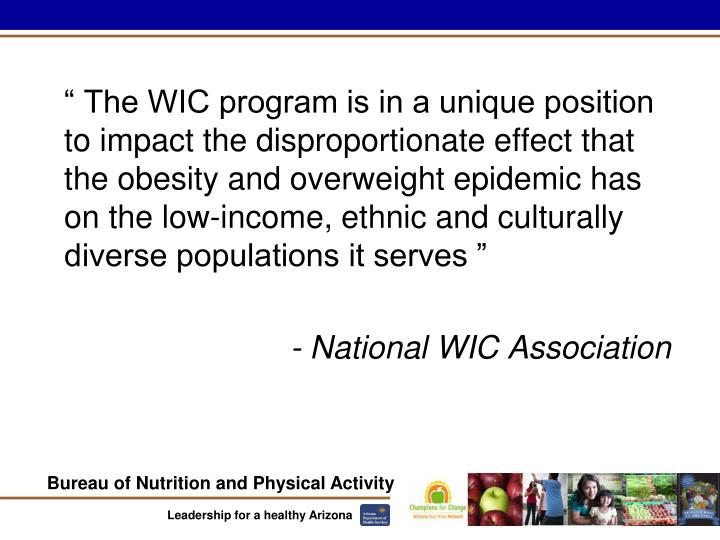 """"""" The WIC program is in a unique position to impact the disproportionate effect that the obesity and overweight epidemic has on the low-income, ethnic and culturally diverse populations it serves """""""