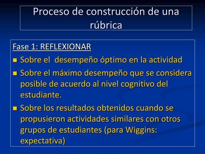 Proceso de construcción de una  rúbrica