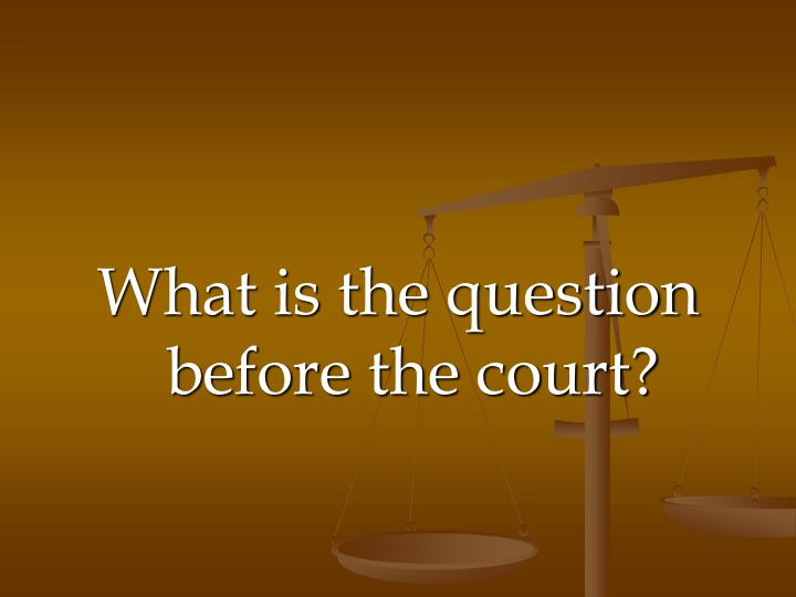What is the question before the court?