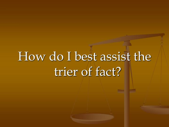 How do I best assist the trier of fact?