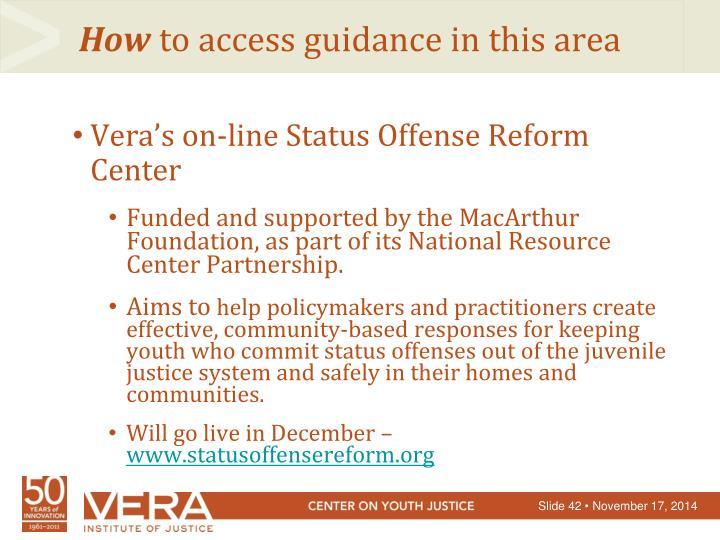 Vera's on-line Status Offense Reform Center