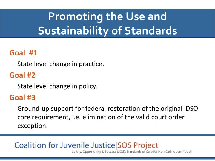 Promoting the Use and Sustainability of Standards