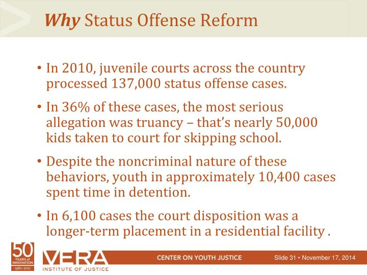 In 2010, juvenile courts across the country processed 137,000 status offense cases.
