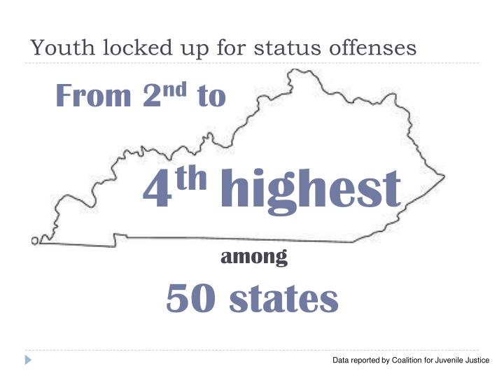 Youth locked up for status offenses