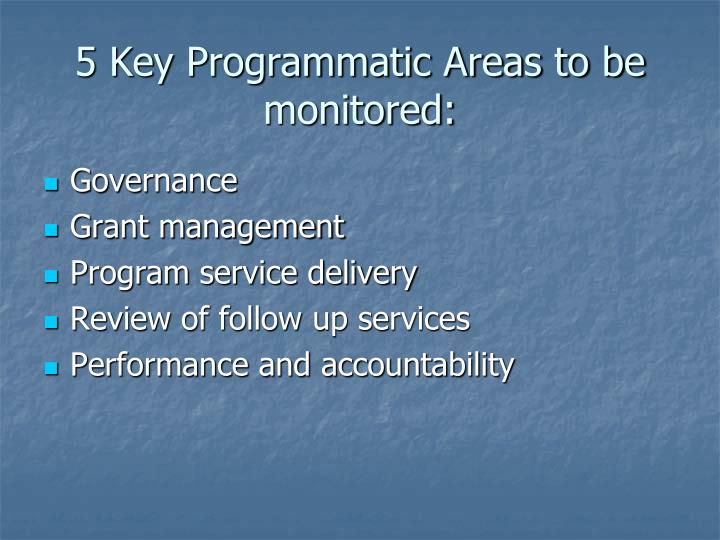 5 Key Programmatic Areas to be monitored: