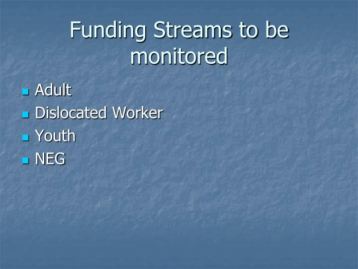 Funding Streams to be monitored