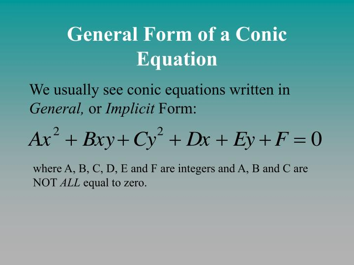 General form of a conic equation