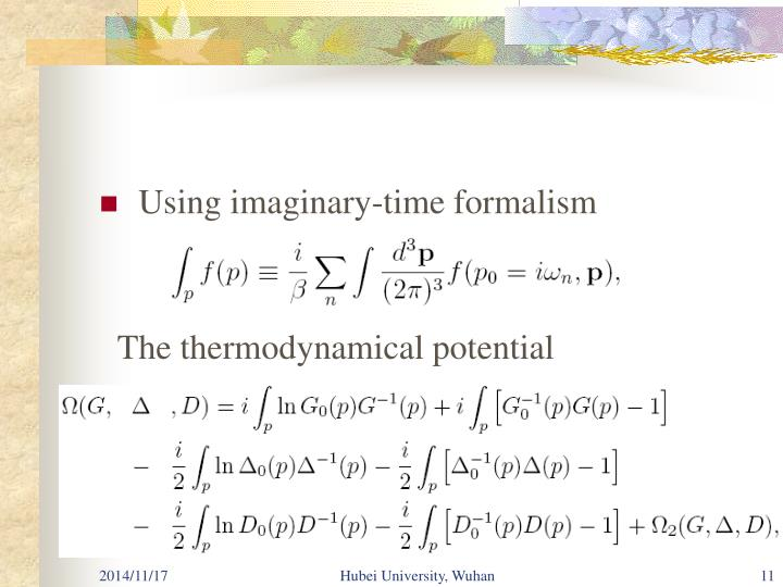 Using imaginary-time formalism