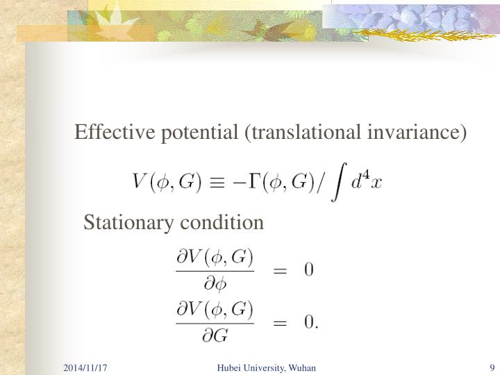 Effective potential (translational invariance)
