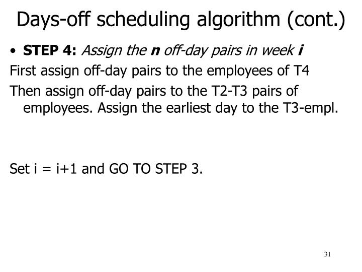 Days-off scheduling algorithm (cont.)
