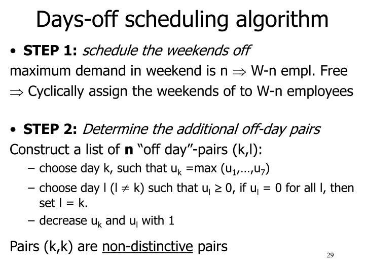 Days-off scheduling algorithm