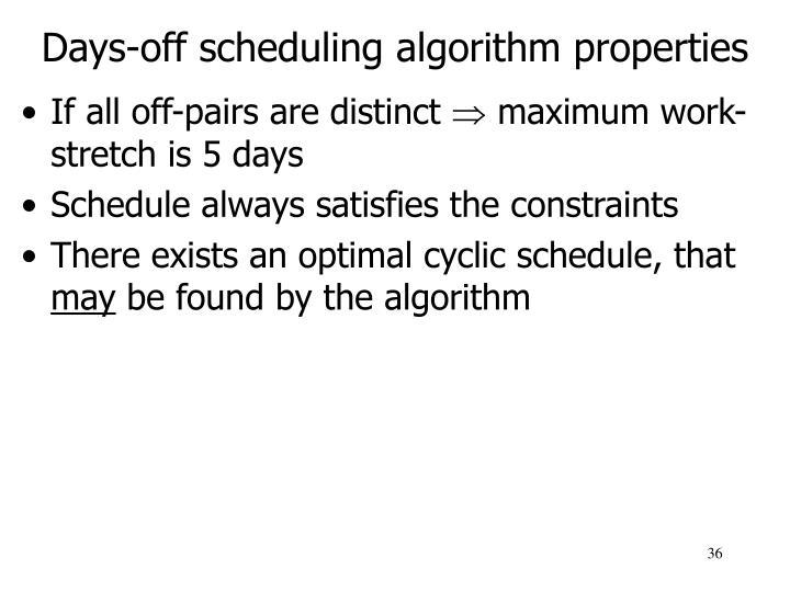 Days-off scheduling algorithm properties