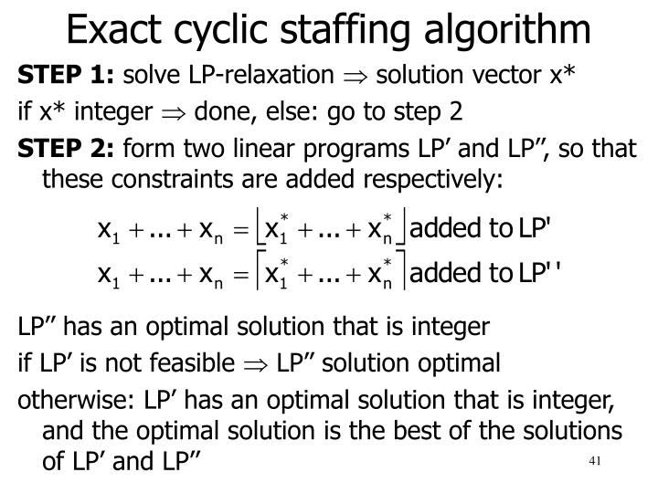 Exact cyclic staffing algorithm
