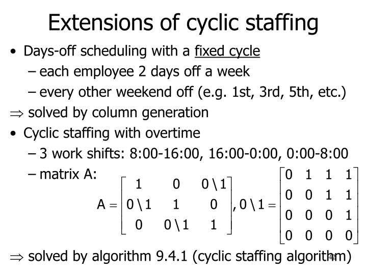Extensions of cyclic staffing