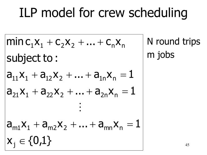 ILP model for crew scheduling