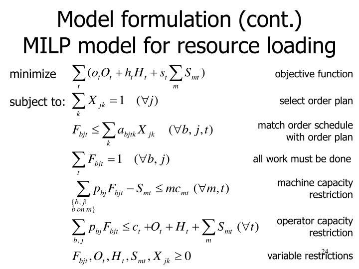 Model formulation (cont.)