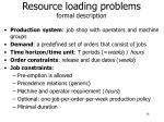 resource loading problems formal description