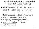 workforce planning lp model 1 product various machines
