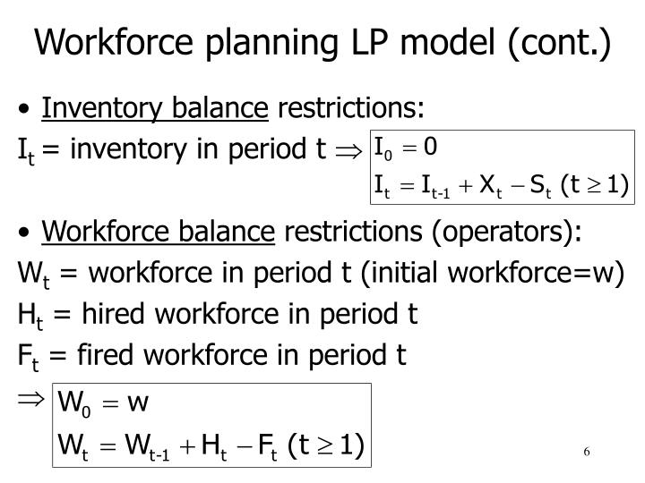 Workforce planning LP model (cont.)