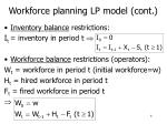 workforce planning lp model cont