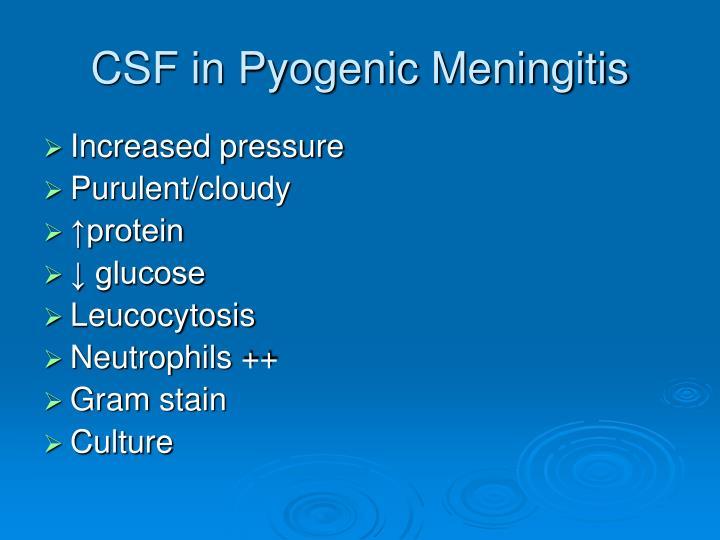 CSF in Pyogenic Meningitis