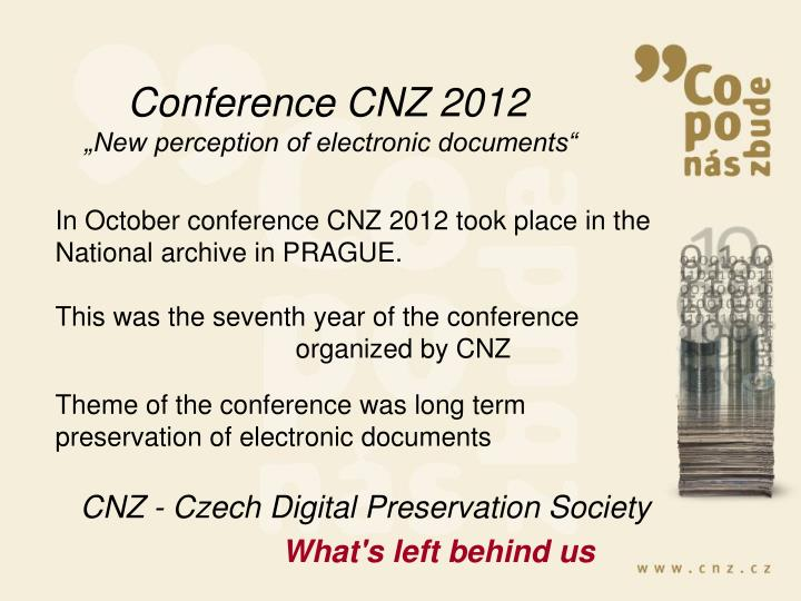 Conference CNZ 2012