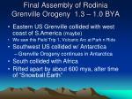 final assembly of rodinia grenville orogeny 1 3 1 0 bya