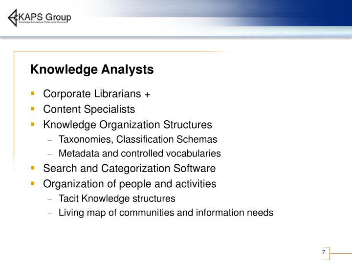 Knowledge Analysts