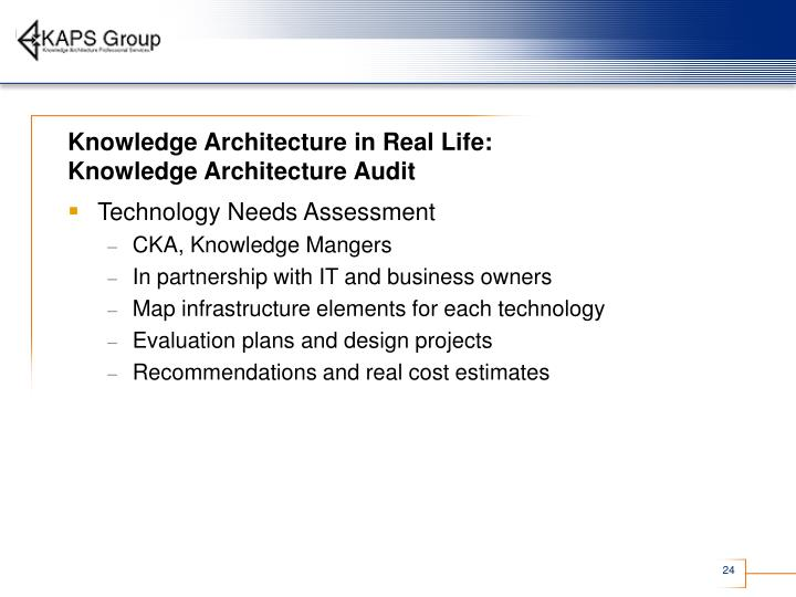 Knowledge Architecture in Real Life: