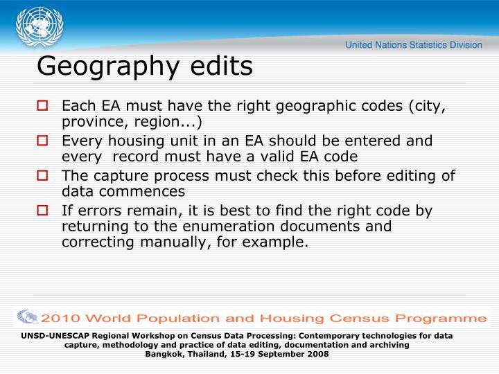 Geography edits