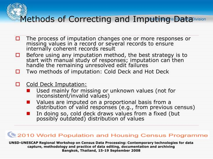 Methods of Correcting and Imputing Data