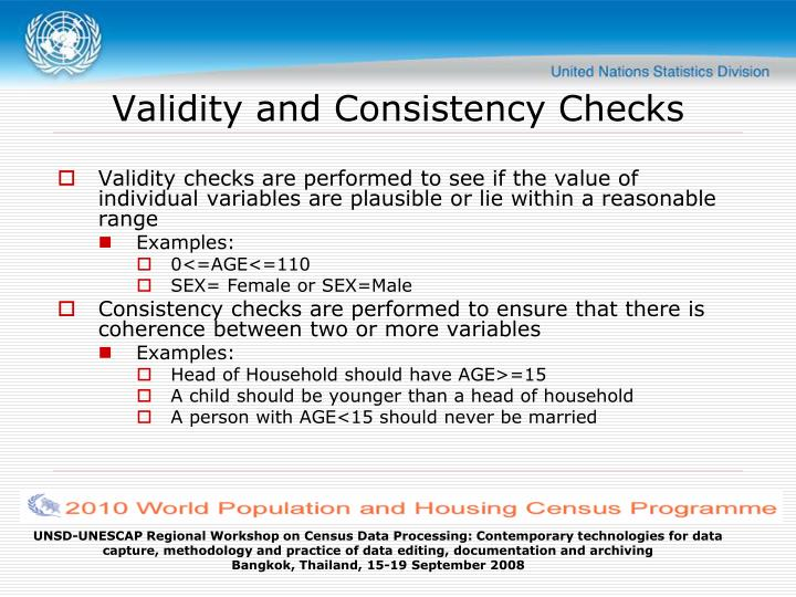 Validity and Consistency Checks