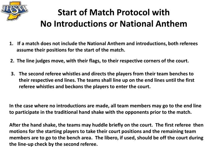 Start of Match Protocol with